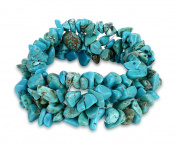 Amethyst/Turquoise/Rock Crystal Bracelet Quartz Healing Chakra Crushed Gemstone Chips Chunky Stretch Strand
