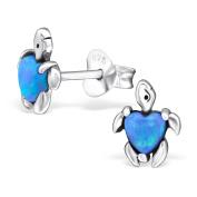Turtle Stud Earrings - 925 Sterling Silver - Size