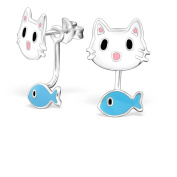 Cat & Fish Hanging Movement Stud Earrings - 925 Sterling Silver - Size