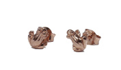 TF Cute Little Frog in High Gloss Earrings with Real Gold Plated Sterling Silver 925