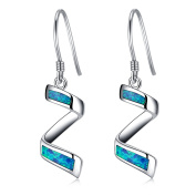 LANMPU Sterling Silver Spiral with Blue Green Fire Opal Inlay Drop Earrings for Women and Girls