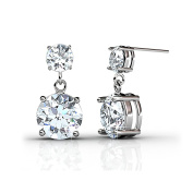 FAPPAC Brass Rhodium Plated 2 Stones Drop Dangle Earrings Enriched with Crystals