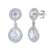 Festive Silver Earrings with Cubic Zirconia 925 Sterling Silver