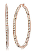 Jstyle Women's Stainless Steel Pierced Large Hoop Earrings Rose Gold with Cubic Zirconia Inlaid 50MM