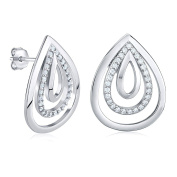 Silver Earrings with Cubic Zirconia 925 Sterling Silver Drops