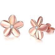 TPHui Women'S Hoop Earrings Women Earrings gold earrings earrings women 18K Rose Gold Simple Flower Earrings