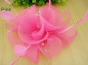 Pink Wedding Hair Fascinator Clip with Feathers