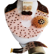 Laanc Nigerian Wedding African Beads Popular Ladies 10 Row Crystal with Corsage Bridal Jewellery Sets