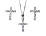Aria Crystal Cross Earring and Pendant Necklace Set in Sterling Silver