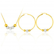 IzuBizu London Crystal Bead Necklace and Hoop Earrings 18CT Gold Plated Jewellery Set - Free Gift Box