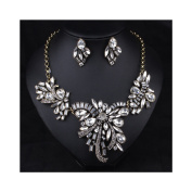Hamer White Charm Crystal Pendant Statement Choker Necklace and Earrings Sets Wendding