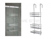 Livivo 3 Tier Chrome Over Door Shower Bathroom Organiser Rack Tidy Basket Caddy
