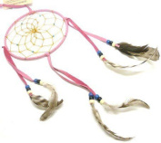 10cm Pink Traditional Navajo Dream Catcher - Handmade By American Indians - Helps