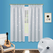 Hollow Star Window Curtains Panels - PONY DANCE (Width 46 by Depth 140cm , Greyish-white, 2 Pcs) Night Sleep Cut Out Decor Twinkle Star Pencil Pleat Curtains for Bedroom / Thermal Insulated & Light Reducing