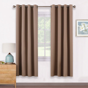 Eyelet Blackout Curtains Thermal Insulated - PONYDANCE Room Darkening Noise Reducing Solid Blackout Curtains Window Treatments for Nursery Girls' Room, 2 Pieces, W 140cm by D 170cm per Panel, Mocha