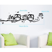 Wall Stickers,Ulanda-EU Kids Vinyl Art Cartoon Owl Butterfly Wall Sticker Decor Home Decal Black