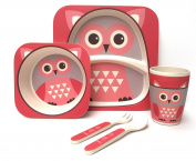Children's 5 Piece Bamboo Dinner Set - 100% Bamboo Fibre, Eco-Friendly, Dishwasher Safe