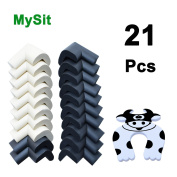 Corner Guards Protectors (20PCS, Black/Cream) Thick Foam Cushion Baby Safety Table Toddler Child Proof Anti-Collision Soft Bumpers for Furniture Cabinets Desk Wall Corner
