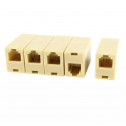 URBEST 5Pcs Beige RJ11 6P4C Female/Female Plastic Telephone Inline Straight Coupler Cable Connector