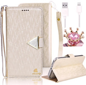 For Xperia Z5 Compact Case,Vandot Sony Xperia Z5 Compact (Not for Z5) Premium Diamond Matte PU Leather Wallet Case- Viewing Stand - Card Slots - Bill Compartment - Magnetic Closure - White with TPU Interior+Crown Anti Dust Plug+USB Cable