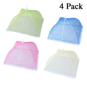 Cymax 4 Pack Large Fashion Colour Pop Up Mesh Screen Food Cover Tent,43cm Reusable and Collapsible Outdoor Food Cover,Food Protector Tent Keep Out Flies, Bugs, Mosquitoes