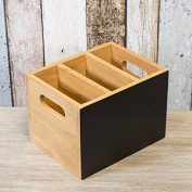 3 Compartment Cutlery/Condiment Holder with Chalkboard Side