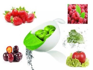 Lime 3l Soak & Strain Sieve Handle Colander Drainer Wash Fruit & Vegetable Bowl
