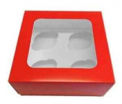 2 X New Red Cupcake Windowed Boxes Holds 4 Cupcakes With Inserts