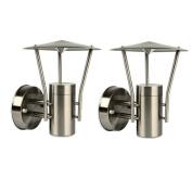 2 X Nartel Mains Outdoor Pedestal Wall Lantern Light 29018 Stainless Steel Ip44