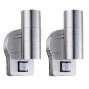 2 X Nartel Outdoor Wall Up Down Double Spot Light Pir Motion Sensor Security
