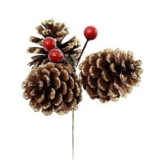 Pinecone And Berry Pick With Gold Frosting X 3. Great For Wreath Making