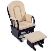Baby Breast Feeding Sliding Glider Chair w/ Ottoman Beige