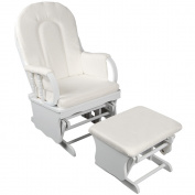 Baby Breast Feeding Sliding Glider Chair w/ Ottoman White
