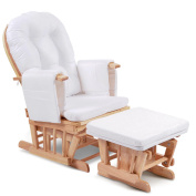 Baby Breast Feeding Sliding Glider Chair w/ Ottoman Natural Wood