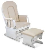 Baby Breast Feeding Sliding Glider Chair w/ Ottoman White Beige