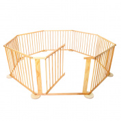 Baby Natural Wooden Playpen  8 Sides