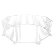 Baby Natural White Wooden Playpen 8 Sides