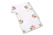 Table Runner In A Robin Design. Beautifully Embroidered Table Linen Designed In