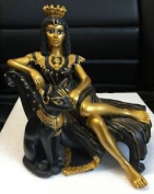 Ancient Egypt - Cleopatra With Bastet Figurine - 13cm - Mc90094 - New