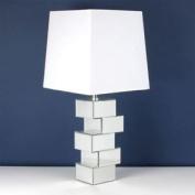 . Table Lamp - Mirror Block Base White Shade - 73cm - He490