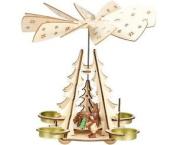 Wooden Christmas Pyramid Tealight Windmill. Winter Woodland Scene