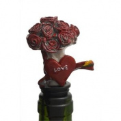 Heart & Flowers Wine Stopper & Cake Decoration - 9cm & Valentines Novelty