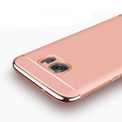 Galaxy S7 Case, Ranyi [3 in 1 Hybrid] [Anti-slip] [Metal Texture] Luxury Electroplated Painting Bumper + Matte Hard Back Cover Case for Samsung Galaxy S7 5.1 inch (2016 release), rose gold