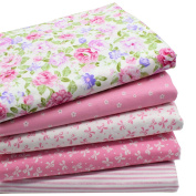 iNee Pink Fat Quarters Quilting Fabric Bundles for Quilting Sewing Crafting,46cm x 60cm