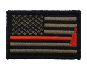 Firefighter Axe US Flag Thin Red Line Hook and loop Morale Patch United States