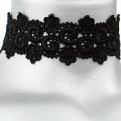 Twilight's Fancy Black Floral Curl Venice Lace Choker Necklace