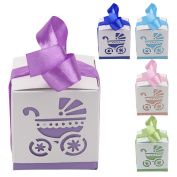 10pcs Pierced Laser Cut Carriage Candy Boxes Wedding Favour Baby Shower