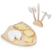 Kikkerland Mediaeval Shield Shaped Wooden Cheese Board Set
