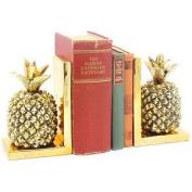 Gold Art Pineapple Bookends Heavy Shelf Organiser Accessory Books Study Office