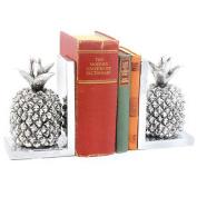 Silver Art Pineapple Bookends Heavy Shelf Organiser Accessory Books Study Office